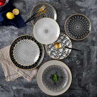 6pcs 8 /10 inch tableware Phnom penh geometry tableware ceramic Dinner Plate dish porcelain dessert plate dinnerware cake plate