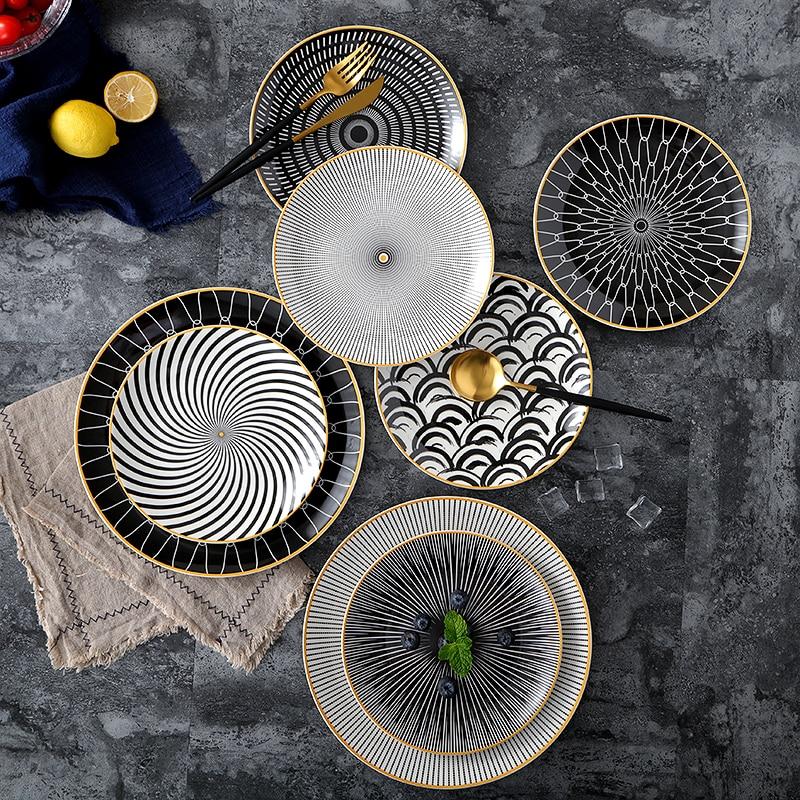 Vaisselle en céramique assiette à dessert | Vaisselle à géométrie de Phnom penh 6 pièces 8 /10 pouces, assiette à dîner en porcelaine, assiette à gâteau