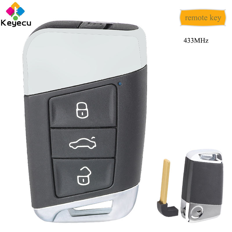 KEYECU Replacement Smart Remote Key With 3 Buttons 434MHz FOB for Volkswagen Magotan Superb A7 Passat