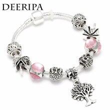 eb59ad603 DEERIPA Silver Charm Bracelet&Bangle With Tree Of Life Pink Crystal Ball Beads  Pandora Bracelet For Women