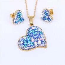 Mulheres de cristal de aço inoxidável brincos românticos colar heart-shaped jóias coloridas cores opcionais cadeia livre XS43
