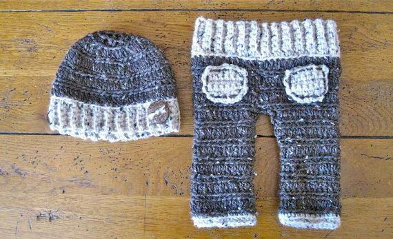 Frete grátis, Handmade crochet recém-nascido fotografia adereços, Bebê gorros / e cinza calças do bebê 100% algodão
