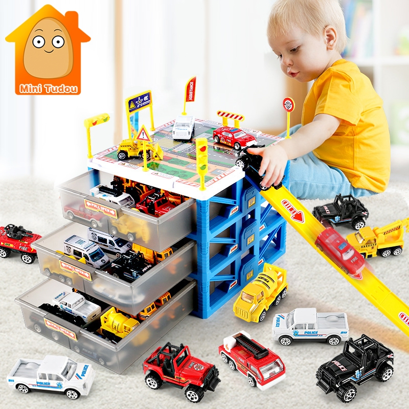 Kids Car Track Toys Mini Parking Lot 6PCS Cars Storage Matchbox DIY Road Signs Slot Car Model Toys Carport Garage Toy For Kids