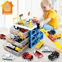 Kids Car Track Toys Mini Parking Lot 6PCS Cars Storage Matchbox DIY Road Signs Slot Car Model Toys Carport Garage Toy For Kids