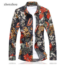 ZhenZhou High Quality 2017 Mens Shirts Floral Plus Size M 7XL Red Orange Camisa Social Masculina