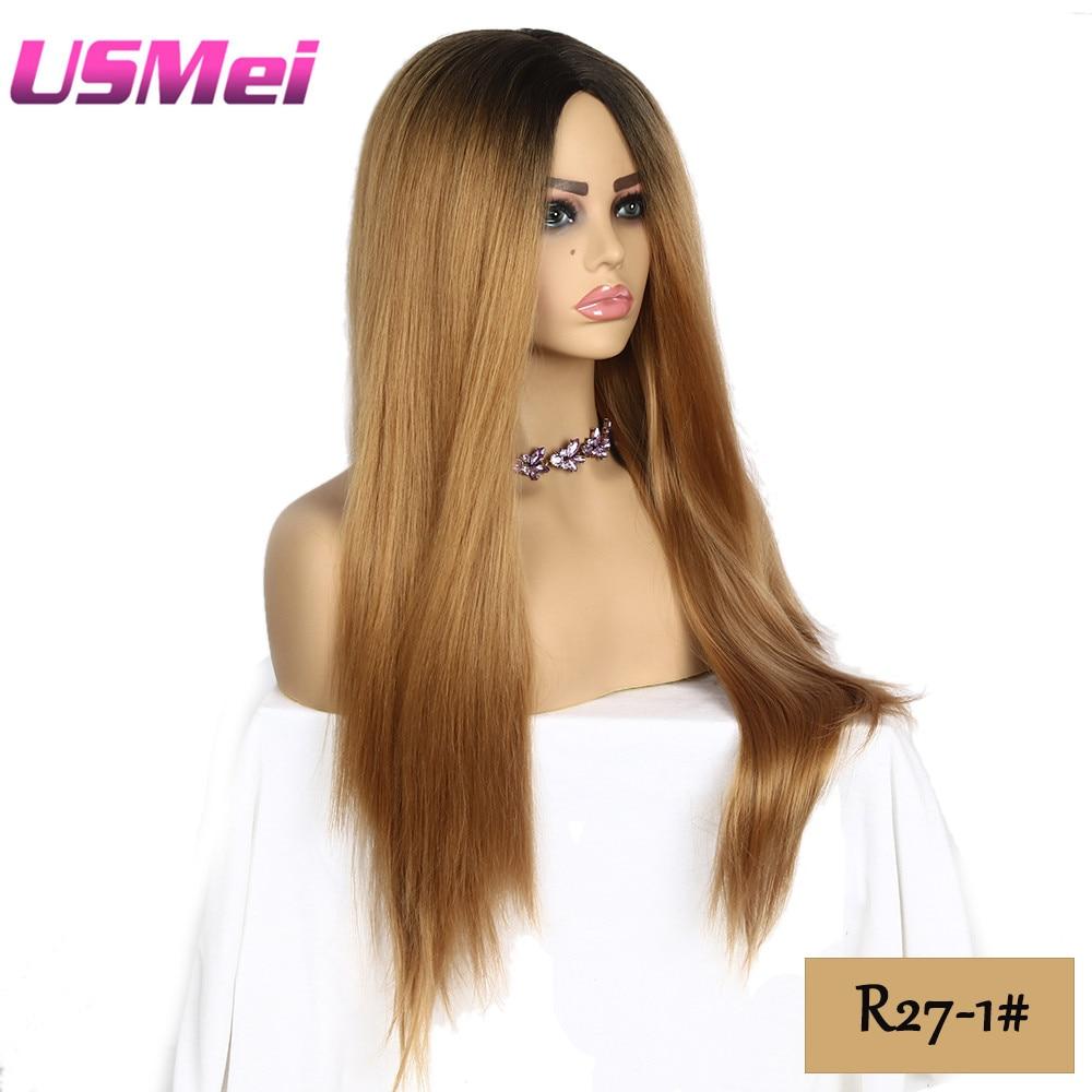 USMEI 30 tum långa raka svarta rötter ombre peruk blonda bruna - Syntetiskt hår - Foto 4