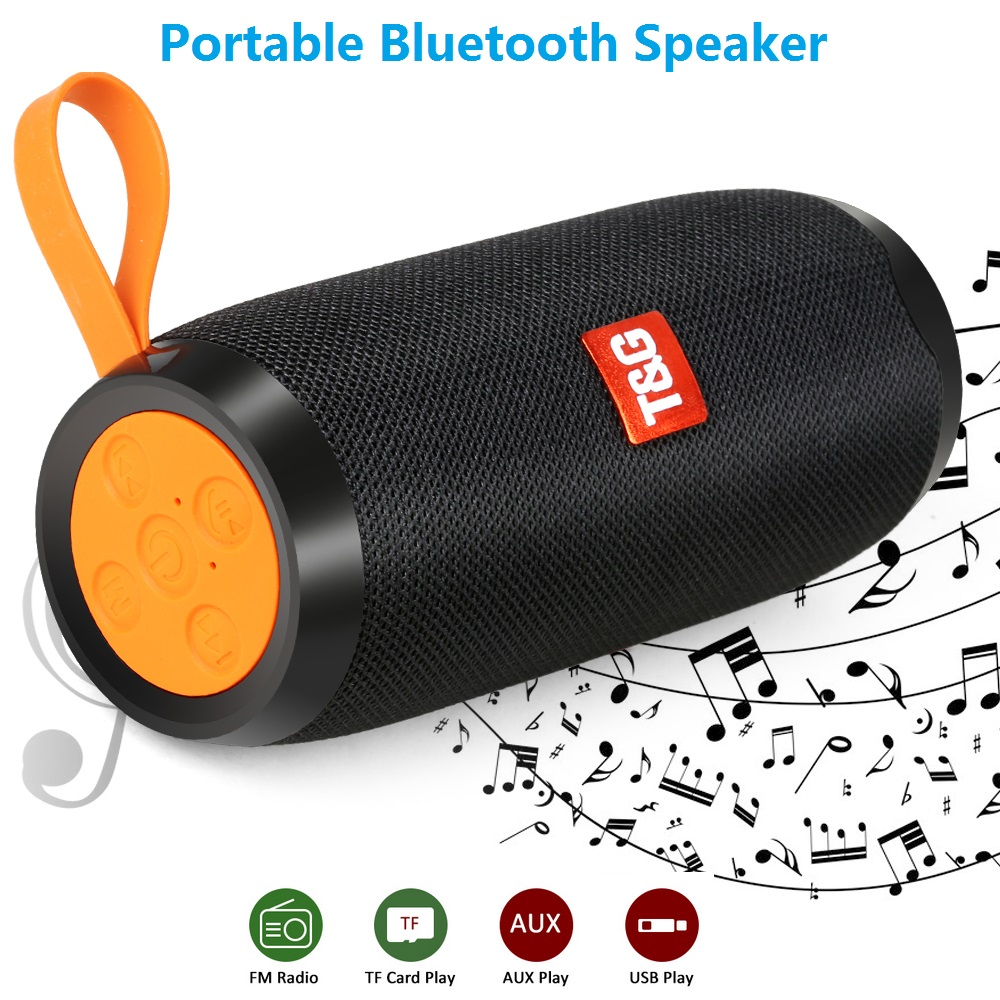 HIFI Portable Bluetooth Speaker 10W Wireless Stereo Column Fabric Subwoofer Speakers Support TF card FM Radio USB AUX for iphone in Portable Speakers from Consumer Electronics