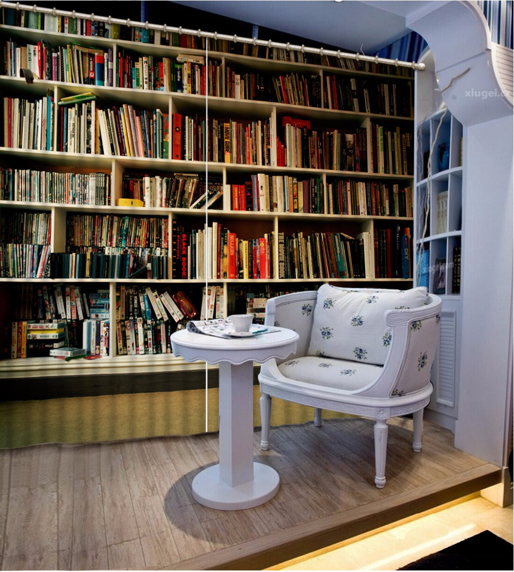 customize 3d luxury modern curtains kids bedroom living room bookshelf soundproof curtains 3d short window curtains