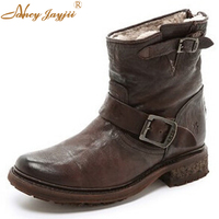 Women Nubuck Leather Shearling Lined Boots Wrinkled Leather Moto Low Heels Boots Shoes For Woman Outdoor&Snow Plus Size 4 16