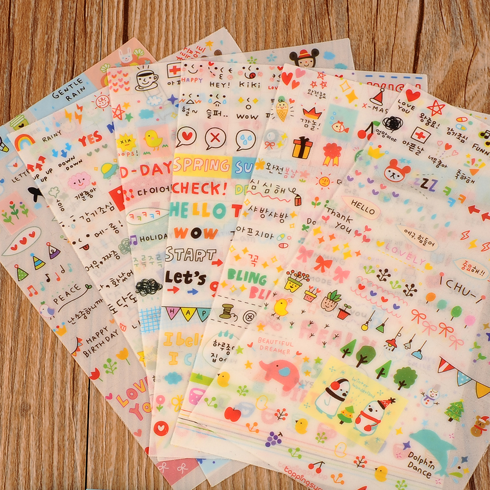 Scrapbook paper books - New Lovely 6 Sheet Paper Stickers For Diary Scrapbook Book Wall Decor For Decoration Cartoon Stickers