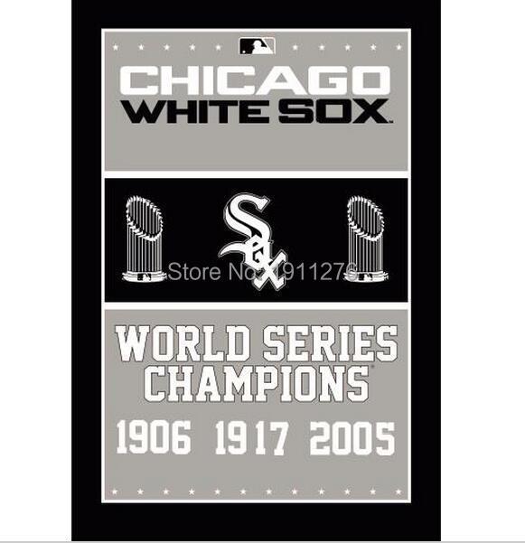 MLB Chicago White Sox champion ship flag 3ftx5ft Banner 100D Polyester Flag metal Grommets Free shipping