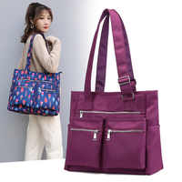 Waterproof bolsas Black Women Handbag Casual Large Shoulder Bag Nylon Tote Famous Brand Purple Handbags Mummy Diaper Bags lxfzq