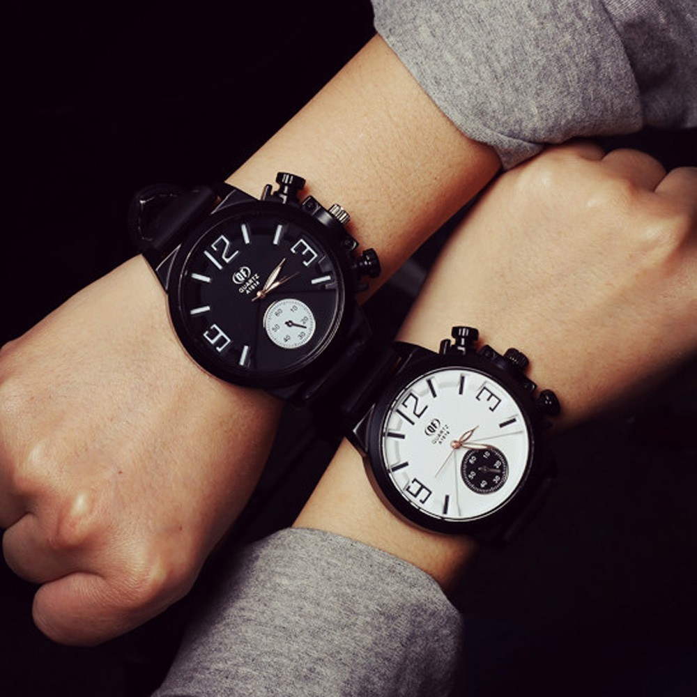 Mance Best Quality Black&White Simple Fashion Design Unisex Men Women Silicone Quartz Analog Wrist Watch Watches Relogio 2016 hot relogio feminin silicone strap unisex men women quartz analog wrist watch women ladies lovers black white watches wholesale