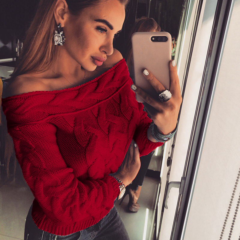 Bigsweety New Autumn Winter Long Sleeve Pullovers Women Sexy Off Shoulder Knitted Sweater Fashion Lady Sweater Tops