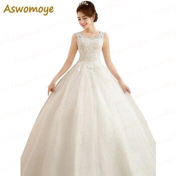 Aswomoye Vestido De Noiva 2017 New Cap Sleeve A Line Wedding Dresses Back Corset Applique Beaded Elegant Plus Size Bridal Gowns Wedding Dresses