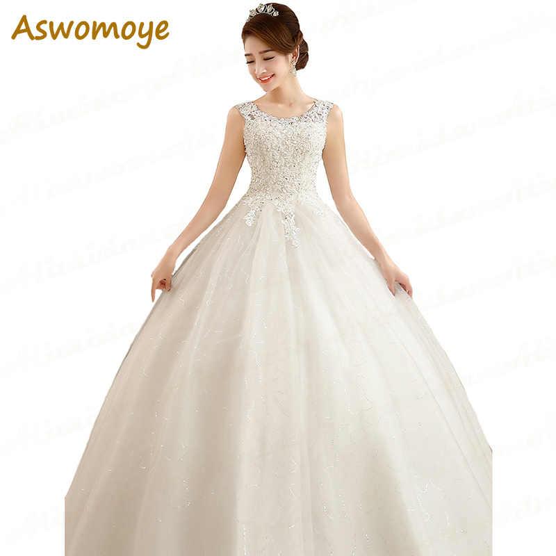 7ab5846e Aswomoye Vestido De Noiva 2017 New Cap Sleeve A Line Wedding Dresses Back  Corset Applique Beaded