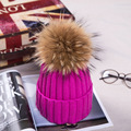 Luxury Brand New mink fur ball cap winter hat for women girl 's wool hat knitted cotton beanies cap brand new thick female cap
