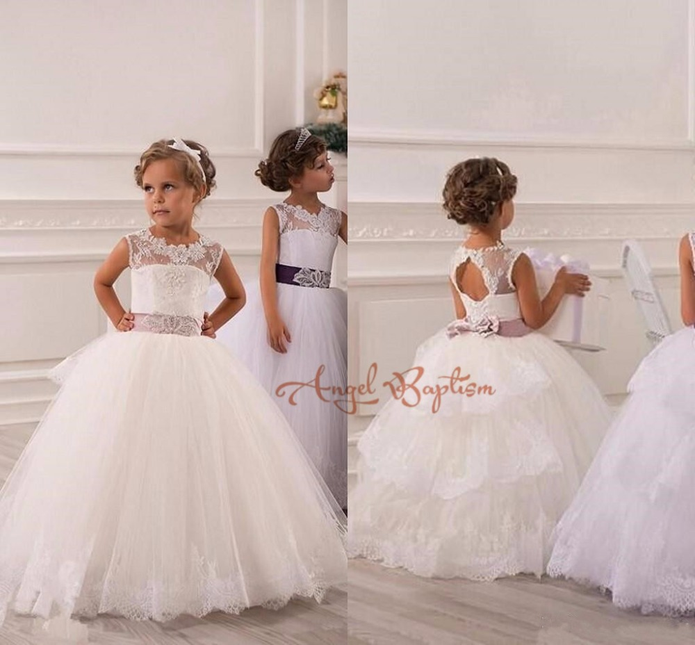 Real pictures Bling Crystals Keyhole Back Ball Gown Beads Sheer Lace Flower Girl Dress kid children holy first communion dresses pleated panel keyhole back dress