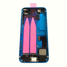 New DARK BLUE/White Glass Middle Frame Full Assembled Back Cover Housing Assembly Replacement for iPhone 5S, Free Tools