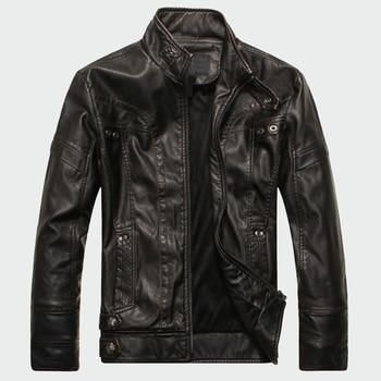 Hommes vestes en cuir de haute qualité classique moto vélo Cowboy veste mâle Plus velours épais manteaux marque vêtements 5XL ML001