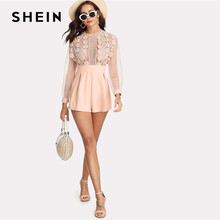SHEIN Pink Pastel Floral Lace Rompers Womens Jumpsuit Sexy Jumpsuits High Waist Wide Leg Applique See Through Bodice Romper