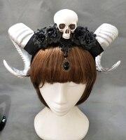 Handmade Steampunk Skull Fiori Corna Corna Fascia Floreale Femminile Halloween Accessorio Dei Capelli del Copricapo Goth