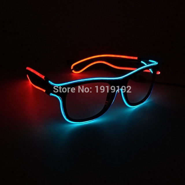 4df85327a04 Artificial Flashing Double color Glowing Glasses 5 style Powered By DC-3V  EL Wire Cold