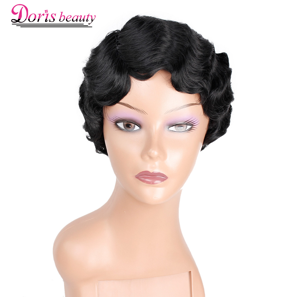 Doris beauty Ombre Short Curly Black Cute Wigs for Women African Afro Hair Synthetic Red Brown Heat Resistant