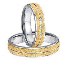 Ручной работы на заказ 2015 Последние новый дизайн мужские и женские titanium стали обручальные кольца обещание наборы для пар альянсов