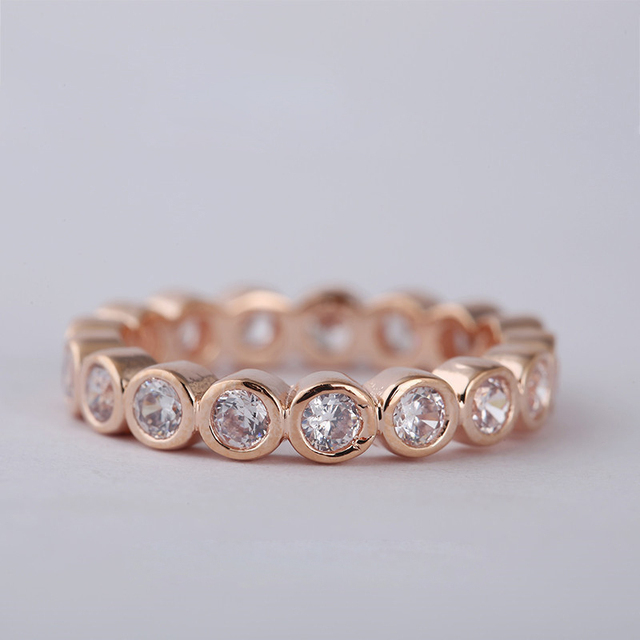 Authentic 925 Sterling-Silver-Jewelry Rose Gold Plated Eternity Rings With Round Clear CZ Silver Rings For Women Wholesale
