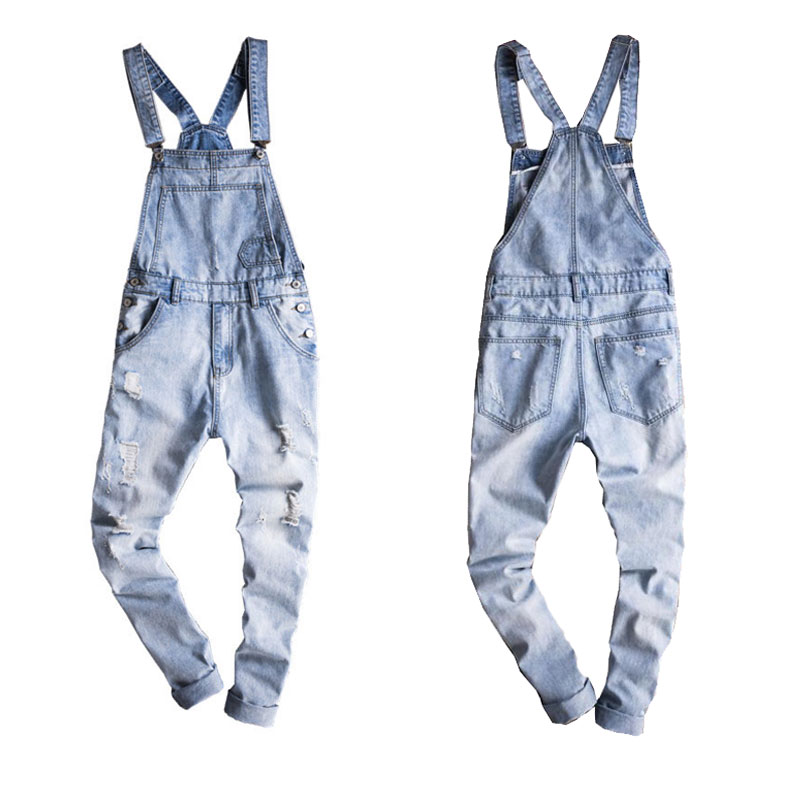 2019 New Male Suspenders New Casual Light Blue Denim Overalls Ripped Jeans Pockets Men's Bib Jeans Boyfriend Jumpsuits Size 6xl