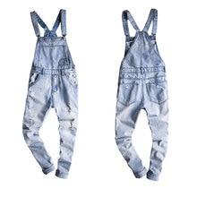 2018 New Male Suspenders New Casual Light Blue Denim Overalls Ripped Jeans Pockets Men's Bib Jeans Boyfriend Jumpsuits Size 6XL