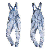2019 New Male Suspenders New Casual Light Blue Denim Overalls Ripped Jeans Pockets Men's Bib Jeans Boyfriend Jumpsuits Size 6XL цена