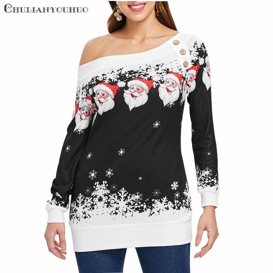 Рождественский свитер с открытыми плечами и пуговицами, женская одежда s 2019, новогоднее Платье с принтом Санты, милый женский пуловер на осень и зиму