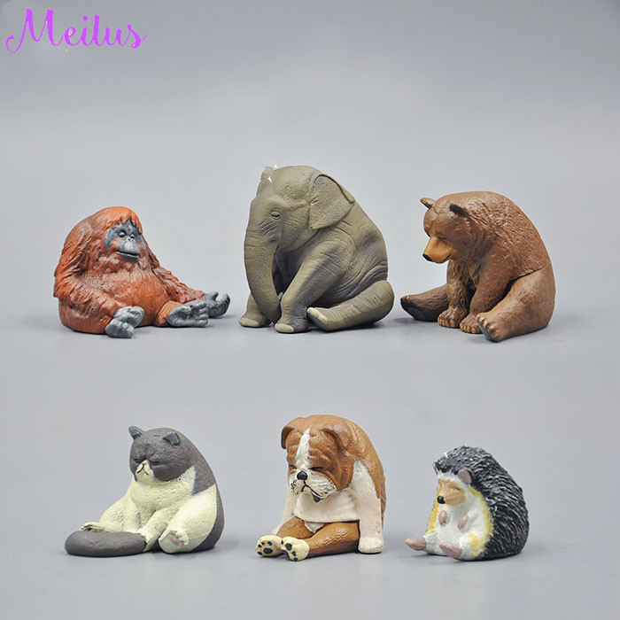 Cute Toys Simulation Wild Animal Elephant Bear Gorilla Dogs Cats Hedgehog PVC Model  Action Figures Toys Gift for Kids african elephant