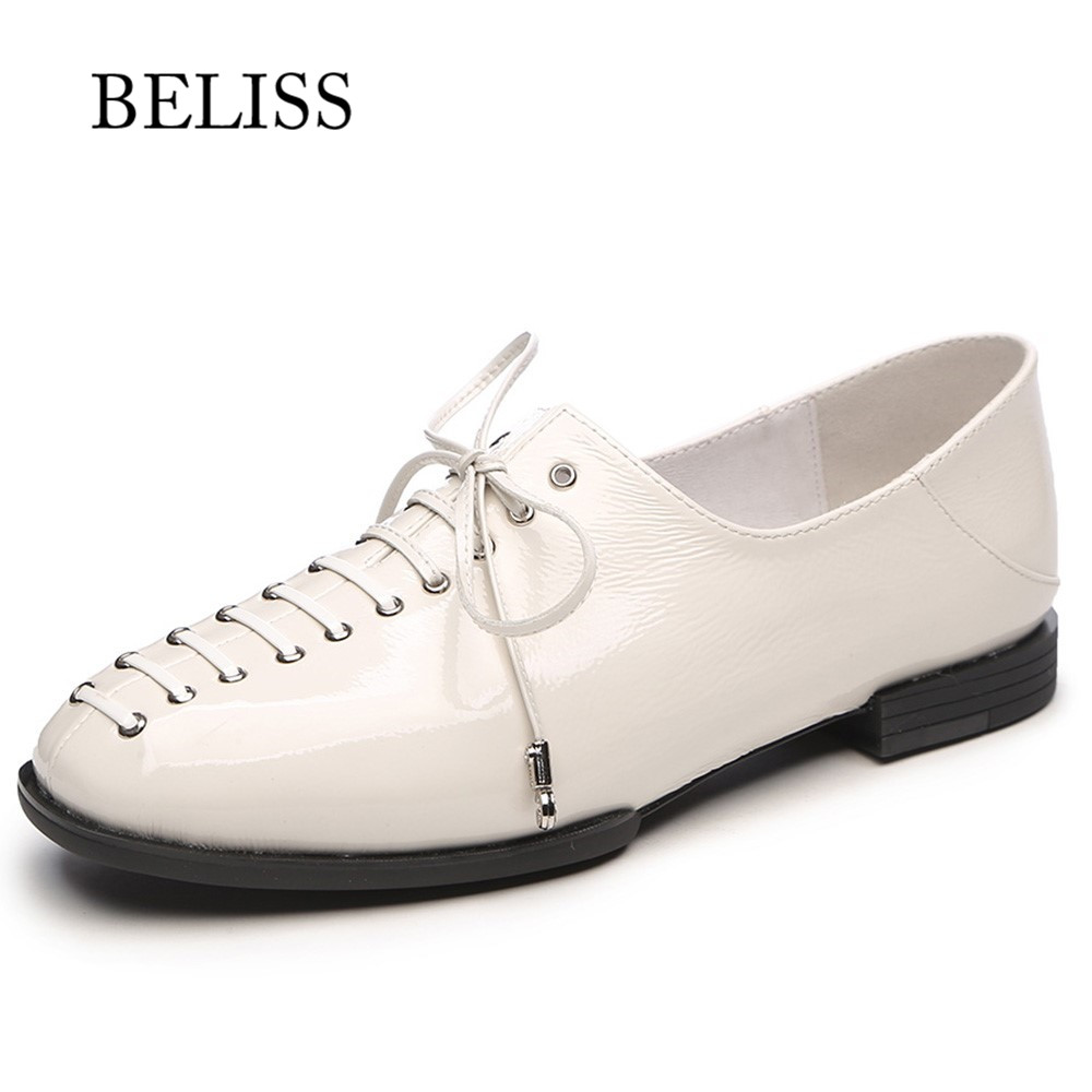 BELISS retro casual womans shoes round toe ladies shoes lace up oxford shoes for women patent
