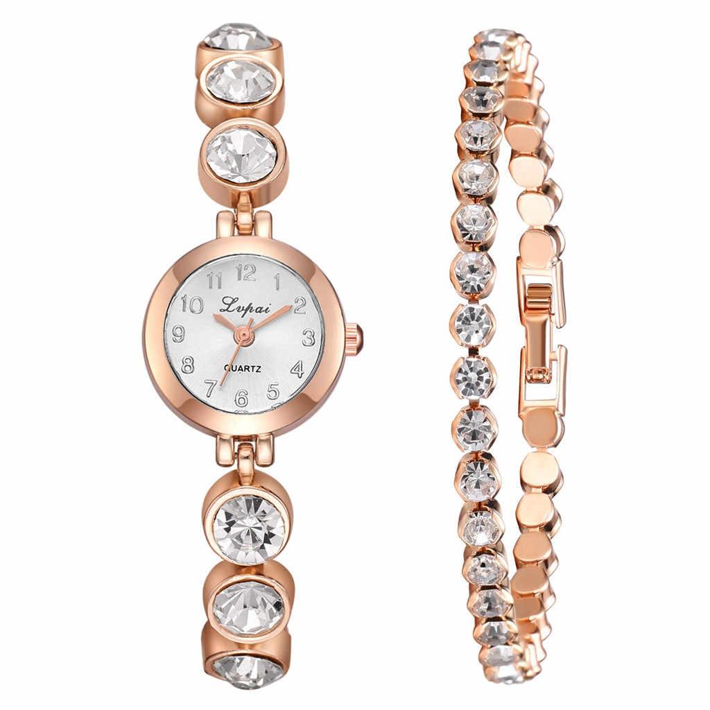 3 יח'\סט יוקרה אופנה פשוט חיוג פלדת רצועת שעון נשים מלא יהלומי צמיד שעונים קוורץ Relogio שעוני יד עם תיבה