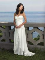Beach Wedding Bride Dresses 2016 Sexy Empire Sweetheart Ruffles Appliques Chiffon Low Price Hot Sale