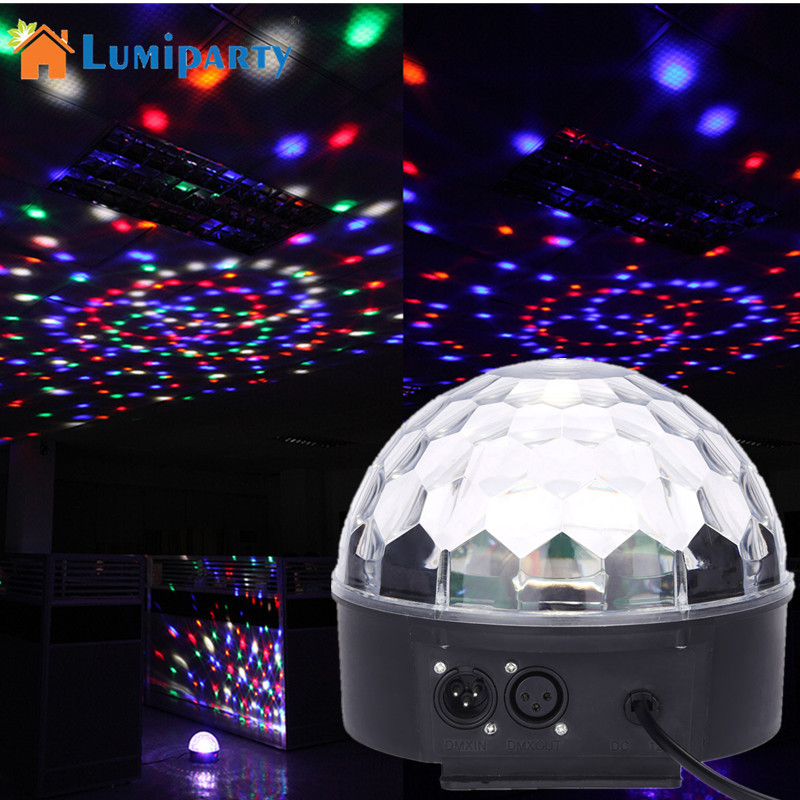 LumiParty Colour Changing 27W Creative LED Stage Laser Lamp Crystal Ball Light Club Disco DJ Party Bar Sound Sensor Decoration mipow btl300 creative led light bluetooth aromatherapy flameless candle voice control lamp holiday party decoration gift