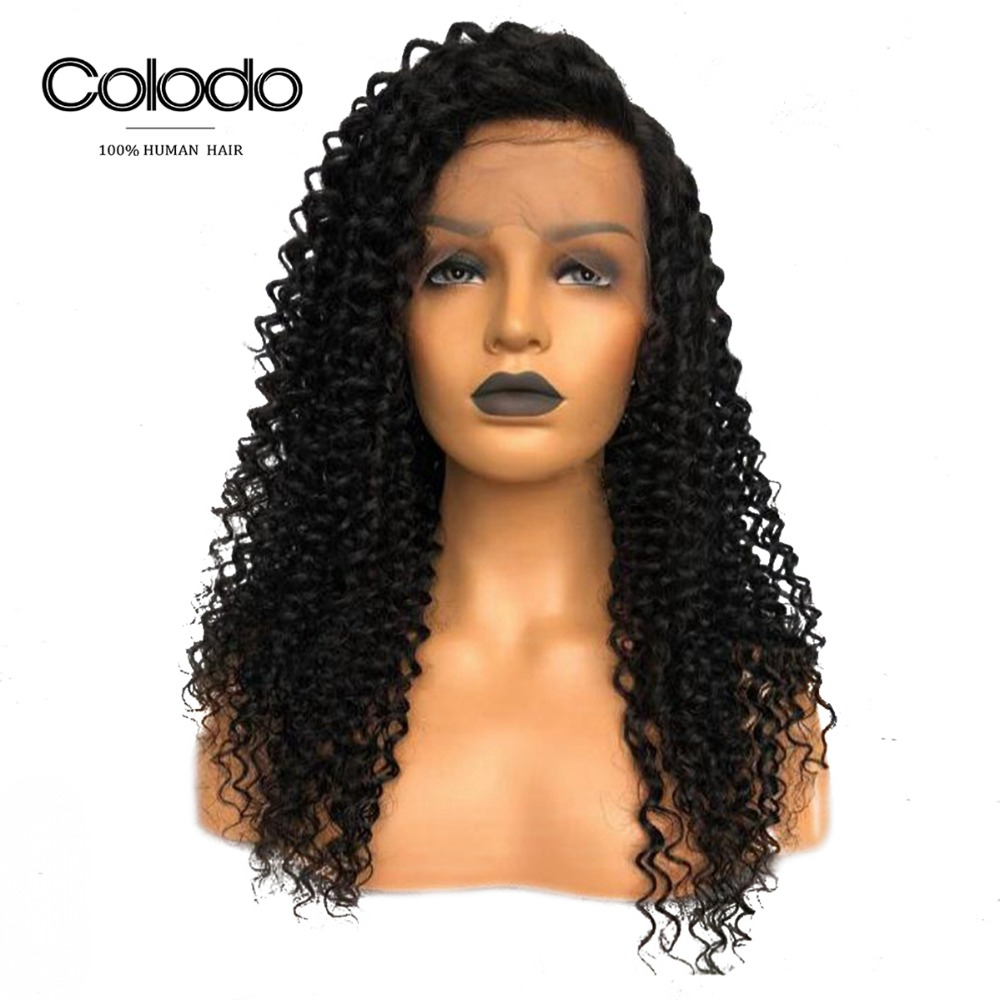 COLODO 360 Lace Frontal Wig Pre Plucked with Baby Hair Brazilian Remy Curly Wigs 360 Lace