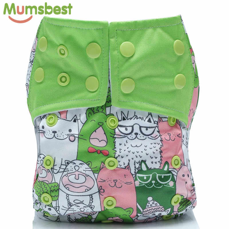 [Mumsbest] 1Pc Reusable Baby Cloth Diaper Cover Washable Nappies Carton Cats Green Nappy Waterproof Pocket Diapers Suit 3-13kg