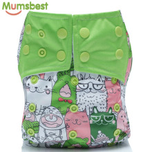 [Mumsbest] 1Pc Reusable Baby Cloth Diaper Cover Washable Nappies Carton Cats Green Nappy Waterproof Pocket Diapers Suit 3-13kg лажечников и ледяной дом роман в четырех частях