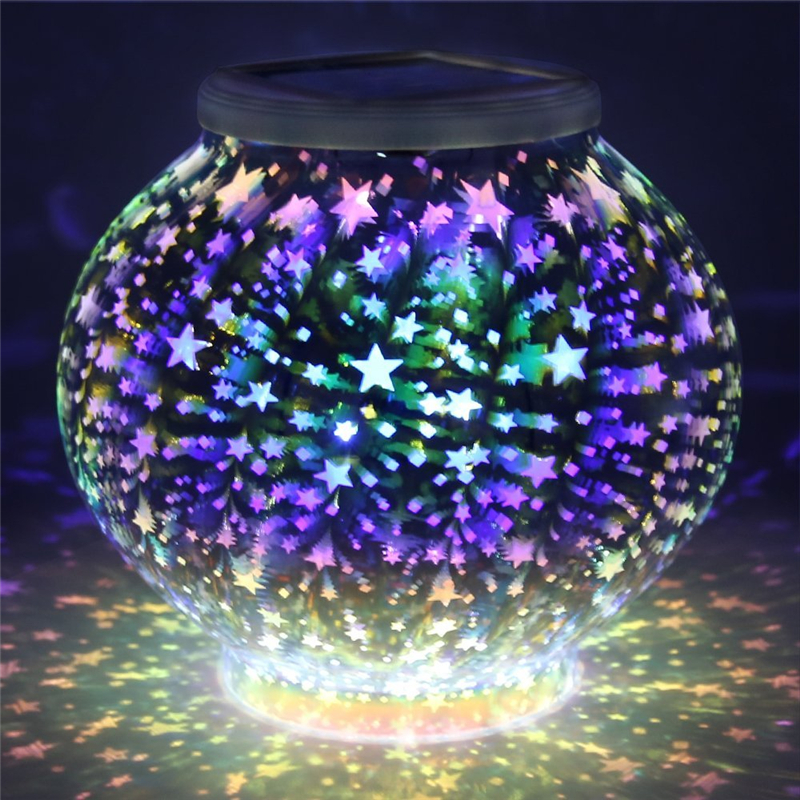 Color Changing Mosaic Solar Lamp Light Stars Waterproof Crystal Glass Globe Ball Light Night Light For Decorations As Gift