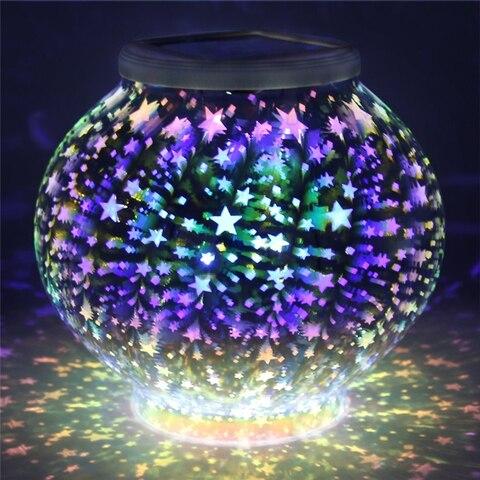 mudanca da cor bola globo de vidro cristal mosaico lampada estrelas luz solar a prova