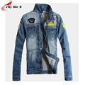 Cowboy Jacket Men's Jeans Coat Worn Holes Frayed Washable Embroidered Denim Jacket Male Plus Size M-5XL 2016 Autumn Spring Coats