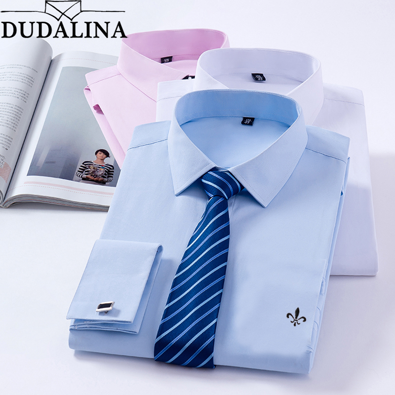 Dudalina 2019 Men's Luxury French Cuff Solid Color Dress Shirts New Patchwork Plaid Neck Long Sleeve Classic-fit Formal Shirt