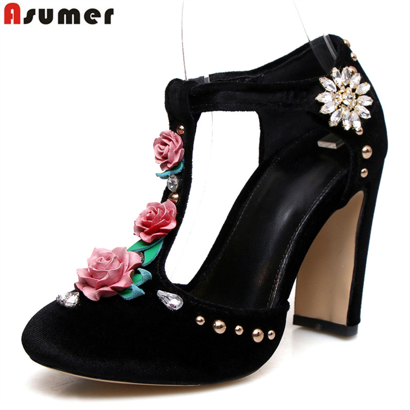 ASUMER Plus size 34-43 2018 new high quality women pumps t-strap high heels prom wedding shoes woman spring summer ladies shoes new 2017 spring summer women shoes pointed toe high quality brand fashion womens flats ladies plus size 41 sweet flock t179