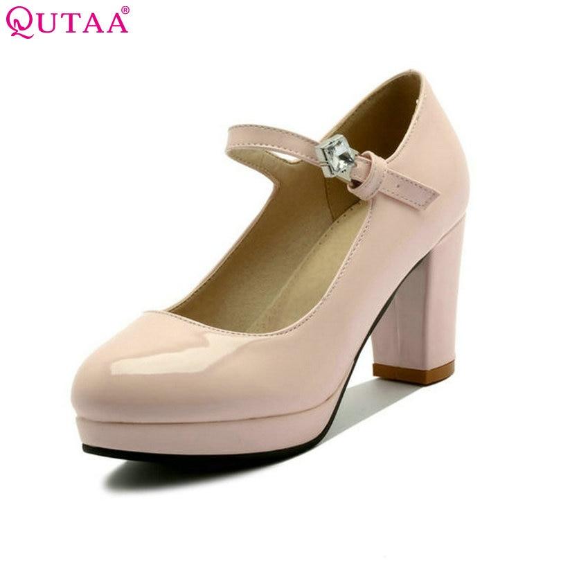 QUTAA 2018 Women Pump Summer Elegant Ladies Shoe Square High Heel Rhinestone Round Toe PU Leather Woman Wedding Shoes Size 34-43 стоимость