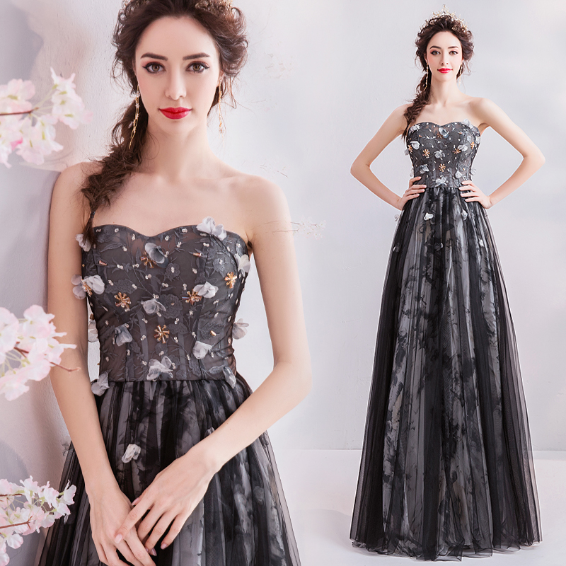 Vestido strapless   evening     dress   2019 formal party   dress   appliques pearl prom   dress   tulle lace up homecoming   dress   robe de soiree