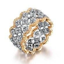 Victoria Wieck Pavimenta set 220 unids de Diamantes Simulados Cz Oro Rosa 925 Engagement Wedding Band Anillo de plata Esterlina para las mujeres